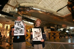 Silent vigil in front of the Enola Gay. Photo by Ted Majdosz