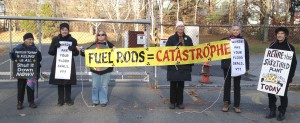 Women with the Shut It Down affinity group, including 94-year-old Frances Crowe (on left), blocking the Vermont Yankee nuclear power plant gate.