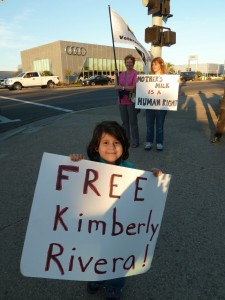 Katie Rivera joins demonstration for her mom's freedom outside military brig in San Diego, December 1,