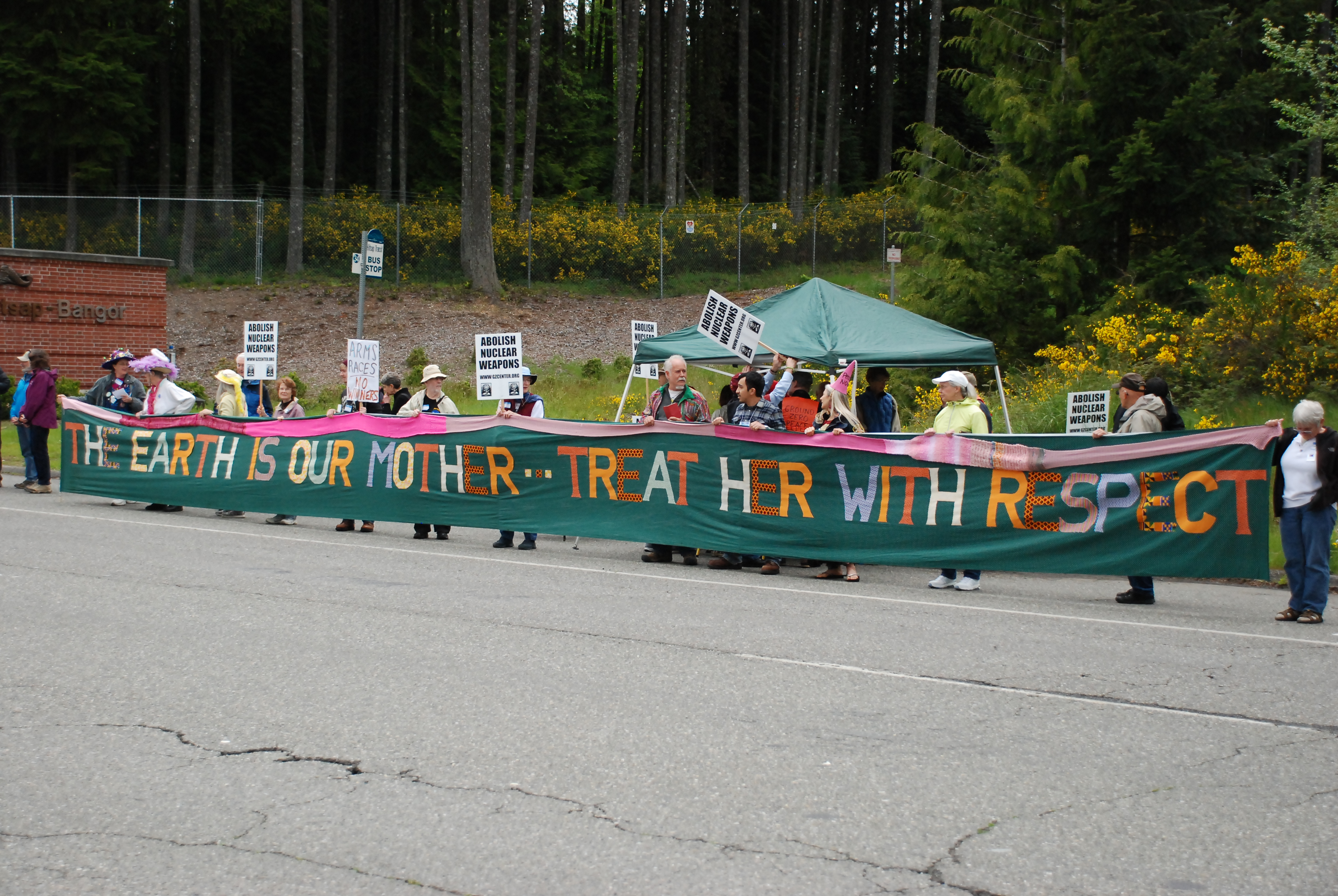 Anti-nuclear weapons activists stage tea party at West Coast