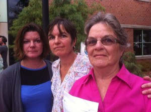 Jack Gilroy's wife and daughters outside courthouse after he was sentenced to 3 months in jail