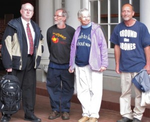 Lawyer Bill Quigley with Greg, Sr. Megan and Michael at May 2013 trial