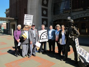 The Bangor Eight defendants in front of the courthouse