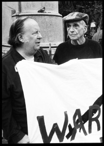 Elmer Maas and Dan Berrigan during a peace vigil in New York's Union Square immediately after the Sept. 11, 2001, attacks. Photo: Ed Hedemann