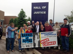 Jessica Reznicek and supporters in front of the courthouse before start of trial, May 24, 2016