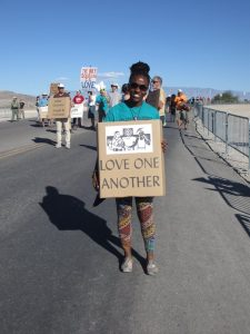 Vera at Creech drone base protest, photo by Felice Cohen-Joppa