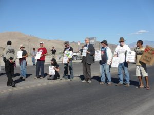 Catholic Worker blockade at Creech drone base, photo by Felice Cohen-Joppa