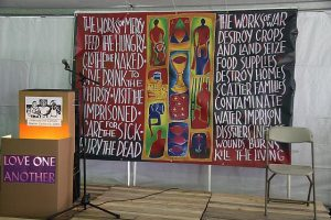 Stage at Catholic Worker gathering in Las Vegas, photo by Mike Wisniewski